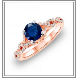 Blue Sapphire Diamond Ring in 18kt Rose Gold